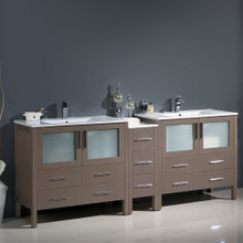 "Fresca  FCB62-361236GO-I Fresca Torino 84"" Gray Oak Modern Double Sink Bathroom Cabinets w/ Integrated Sinks"