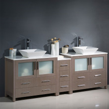 "Fresca  FCB62-361236GO-CWH-V Fresca Torino 84"" Gray Oak Modern Double Sink Bathroom Cabinets w/ Tops & Vessel Sinks"