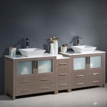 """Fresca  FCB62-361236GO-CWH-V Fresca Torino 84"""" Gray Oak Modern Double Sink Bathroom Cabinets w/ Tops & Vessel Sinks"""