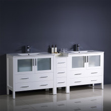 "Fresca  FCB62-361236WH-I Fresca Torino 84"" White Modern Double Sink Bathroom Cabinets w/ Integrated Sinks"