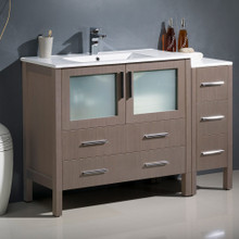 "Fresca  FCB62-3612GO-I Fresca Torino 48"" Gray Oak Modern Bathroom Cabinet w/ Integrated Sink"