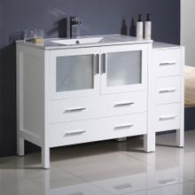 "Fresca  FCB62-3612WH-I Fresca Torino 48"" White Modern Bathroom Cabinets w/ Integrated Sink"