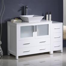 "Fresca  FCB62-3612WH-CWH-V Fresca Torino 48"" White Modern Bathroom Cabinets w/ Top & Vessel Sink"