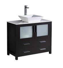 """FCB6236ES-CWH-V Fresca Torino 36"""" Espresso Modern Bathroom Cabinet w/ Vessel Sink"""