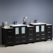 "Fresca  FCB62-72ES-I Fresca Torino 84"" Espresso Modern Double Sink Bathroom Cabinets w/ Integrated Sinks"