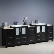 """Fresca  FCB62-72ES-I Fresca Torino 84"""" Espresso Modern Double Sink Bathroom Cabinets w/ Integrated Sinks"""