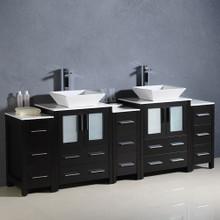 "Fresca  FCB62-72ES-CWH-V Fresca Torino 84"" Espresso Modern Double Sink Bathroom Cabinets w/ Tops & Vessel Sinks"