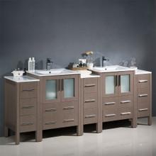 "Fresca  FCB62-72GO-I Fresca Torino 84"" Gray Oak Modern Double Sink Bathroom Cabinets w/ Integrated Sinks"
