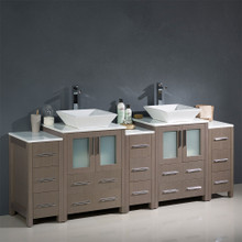 "Fresca  FCB62-72GO-CWH-V Fresca Torino 84"" Gray Oak Modern Double Sink Bathroom Cabinets w/ Tops & Vessel Sinks"