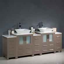 """Fresca  FCB62-72GO-CWH-V Fresca Torino 84"""" Gray Oak Modern Double Sink Bathroom Cabinets w/ Tops & Vessel Sinks"""