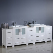 "Fresca  FCB62-72WH-I Fresca Torino 84"" White Modern Double Sink Bathroom Cabinets w/ Integrated Sinks"