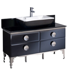 "FCB7714BL-CBL-V Fresca Moselle 47"" Modern Glass Bathroom Cabinet w/ Top & Vessel Sink"