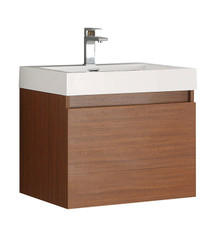 "FCB8006TK-I Fresca Nano Teak 24"" Wall Mount Bathroom Cabinet w/ Integrated Sink"