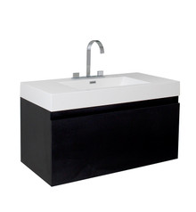 "FCB8010BW-I Fresca Mezzo Black 39"" Wall Mount Bathroom Cabinet w/ Integrated Sink"