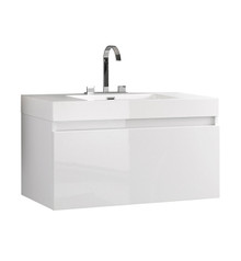"FCB8010WH-I Fresca Mezzo White 39"" Wall Mount Bathroom Cabinet w/ Integrated Sink"