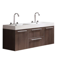 "FCB8013GO-I Fresca Opulento Gray Oak 54"" Wall Mount Double Sink Bathroom Cabinet w/ Integrated Sinks"