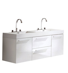 "FCB8013WH-I Fresca Opulento White 54"" Wall Mount Double Sink Cabinet w/ Integrated Sinks"