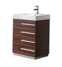 "FCB8024GW-I Fresca Livello 24"" Walnut Modern Bathroom Cabinet w/ Integrated Sink"