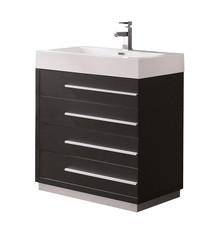 "FCB8030BW-I Fresca Livello 30"" Black Modern Bathroom Cabinet w/ Integrated Sink"