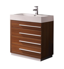"FCB8030TK-I Fresca Livello 30"" Teak Modern Bathroom Cabinet w/ Integrated Sink"