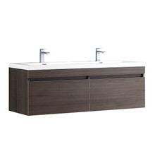"FCB8040GO-I Fresca Largo Gray Oak 57"" Wall Mount Double Sink Bathroom Cabinet w/ Integrated Sinks"