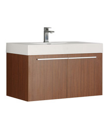 "FCB8090TK-I Fresca Vista Teak 36"" Wall Mount Bathroom Cabinet w/ Integrated Sink"