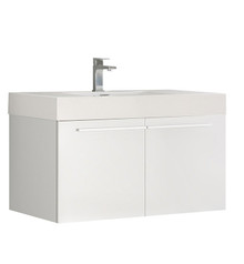 "FCB8090WH-I Fresca Vista White 36"" Wall Mount Bathroom Base Cabinet w/ Integrated Sink"
