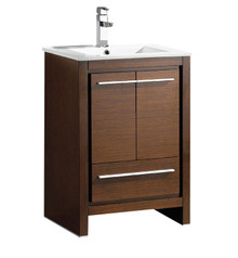 "FCB8125WG-I Fresca Allier 24"" Wenge Brown Modern Bathroom Cabinet w/ Sink"
