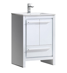 "FCB8125WH-I Fresca Allier 24"" White Modern Bathroom Cabinet w/ Sink"