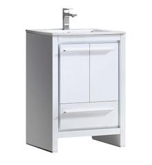 """FCB8125WH-I Fresca Allier 24"""" White Modern Bathroom Cabinet w/ Sink"""