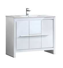 "FCB8140WH-I Fresca Allier 40"" White Modern Bathroom Cabinet w/ Sink"