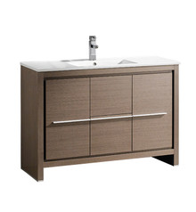 "FCB8148GO-I Fresca Allier 48"" Gray Oak Modern Bathroom Cabinet w/ Sink"