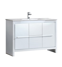 "FCB8148WH-I Fresca Allier 48"" White Modern Bathroom Cabinet w/ Sink"