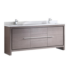 "FCB8172GO-CWH-U Fresca Allier 72"" Gray Oak Modern Double Sink Bathroom Cabinet w/ Top & Sinks"
