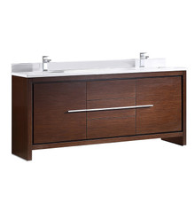 "FCB8172WG-CWH-U Fresca Allier 72"" Wenge Brown Modern Double Sink Bathroom Cabinet w/ Top & Sinks"