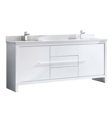 "Fresca Allier 72"" White Modern Double Sink Bathroom Vanity Cabinet w/ Top & Sinks FCB8172WH-CWH-U"