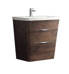 """FCB8532RW-I Fresca Milano 32"""" Rosewood Modern Bathroom Cabinet w/ Integrated Sink"""