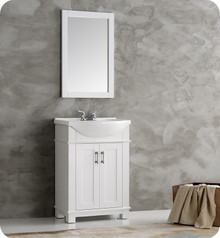 "FVN2302WH-CMB Fresca Hartford 24"" White Traditional Bathroom Vanity"