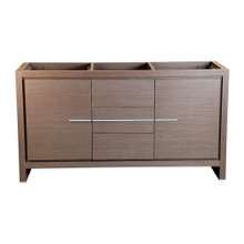 "Fresca  FCB8119GO Fresca Allier 60"" Gray Oak Modern Double Sink Bathroom Cabinet"