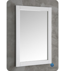 "FMR2302WH Fresca Hartford 20"" White Traditional Bathroom Mirror"