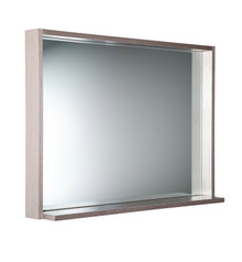 "FMR8140GO Fresca Allier 40"" Gray Oak Mirror with Shelf"
