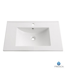 "FVS6230WH Fresca Torino 30"" White Integrated Sink / Countertop"