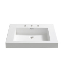 "FVS8070WH Fresca Potenza 28"" White Integrated Sink / Countertop"