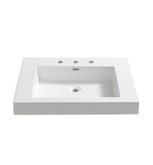 "FVS8070WH Fresca Potenza 28"" White Integrated Sink / Countertop"