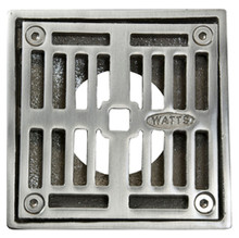 """Mountain Plumbing MT506-GRID-PN 4"""" Square Solid Nickel Bronze Plated Drain Grid - Polished Chrome"""