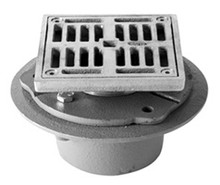 """Mountain Plumbing MT506I-PN 4"""" Square IPS (Cast Iron) Shower Drain with Solid Nickel Bronze Top - Polished Chrome"""