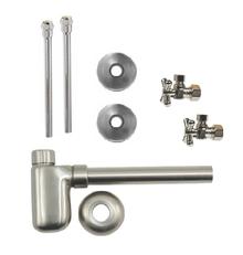 "Mountain Plumbing  MT7002-NL-SC  Lavatory Supply Kit w/ Decorative Trap - Angle - Mini Cross Handle - 1/2"" Compression (5/8"" O.D.) 3/8""  - Satin Chrome"