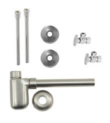 "Mountain Plumbing  MT8002-NL-SC  Lavatory Supply Kit w/ Decorative Trap - Angle - Oval Handle - 1/2"" Compression (5/8"" O.D.) 3/8""  - Satin Chrome"
