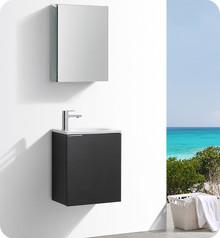 """Fresca Senza Valencia 20"""" Black Wall Hung Bathroom Vanity w/ Medicine Cabinet"""