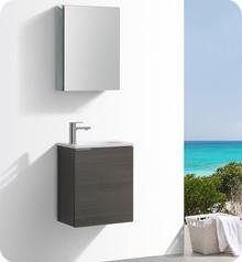 """Fresca Senza Valencia 20"""" Gray Oak Wall Hung  Bathroom Vanity w/ Medicine Cabinet"""